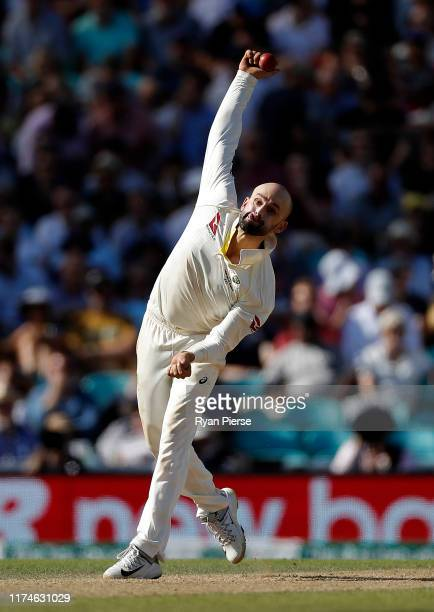 Nathan Lyon of Australia bowls during day three of the 5th Specsavers Ashes Test between England and Australia at The Kia Oval on September 14, 2019...