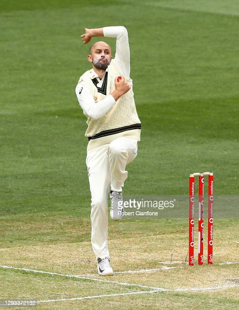 Nathan Lyon of Australia bowls during day three of the Second Test match between Australia and India at Melbourne Cricket Ground on December 28, 2020...