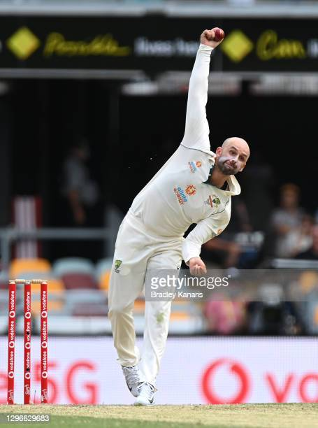 Nathan Lyon of Australia bowls during day two of the 4th Test Match in the series between Australia and India at The Gabba on January 16, 2021 in...