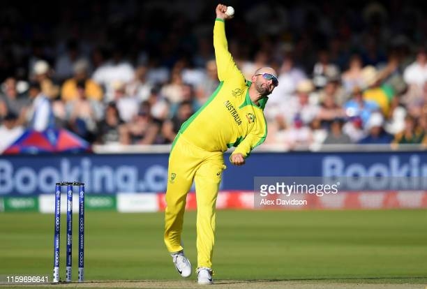 Nathan Lyon of Australia bowls during the Group Stage match of the ICC Cricket World Cup 2019 between New Zealand and Australia at Lords on June 29,...