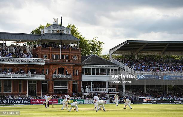 Nathan Lyon of Australia bowls the last over during day two of the 2nd Investec Ashes Test match between England and Australia at Lord's Cricket...