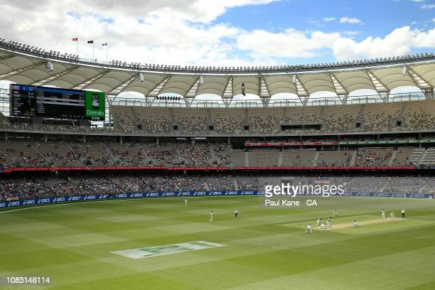 Nathan Lyon of Australia bowls to Hanuma Vihari of India during day three of the second match in the Test series between Australia and India at Perth...