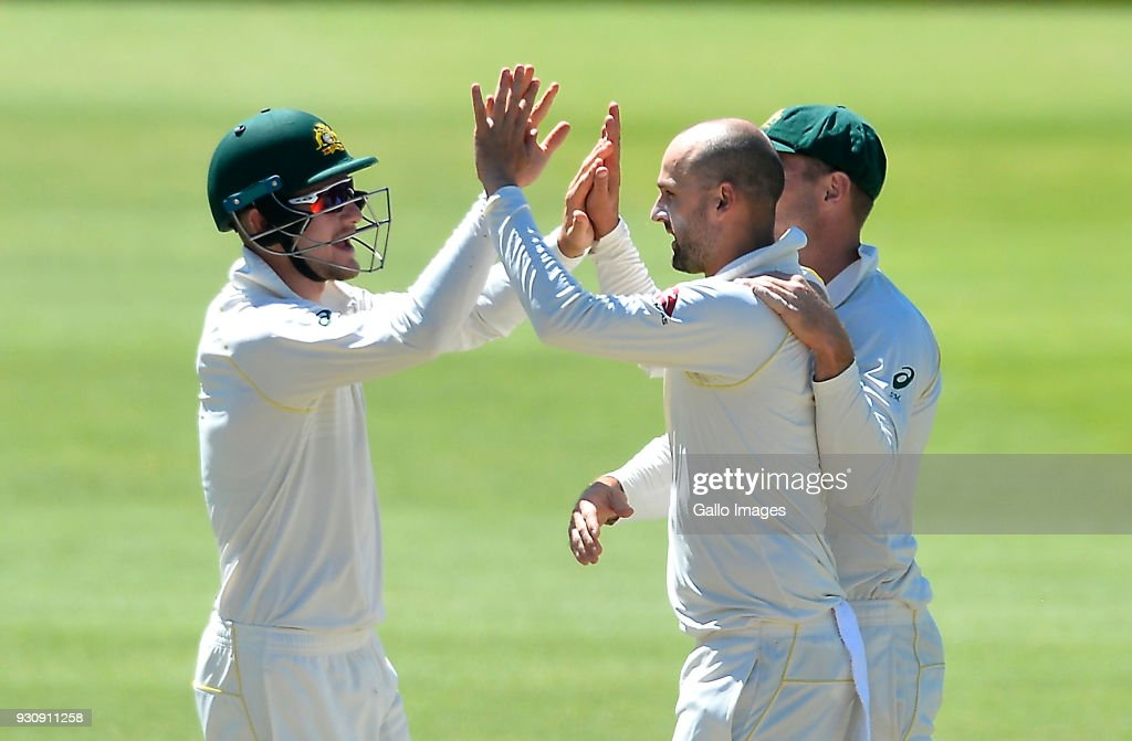 Nathan Lyon of Australia celebrate after taking the wicket of Dean Elgar of South Africa during day 4 of the 2nd Sunfoil Test match between South Africa and Australia at St Georges Park on March 12, 2018 in Port Elizabeth, South Africa.