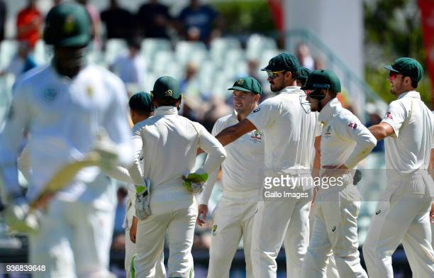 Nathan Lyon of Australia celebrate the wicket of Kagiso Rabada of South Africa during day 2 of the 3rd Sunfoil Test match between South Africa and...