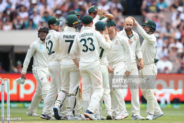 Nathan Lyon of Australia celebrates after dismissing BJ Watling of New Zealand during day four of the Second Test match in the series between...
