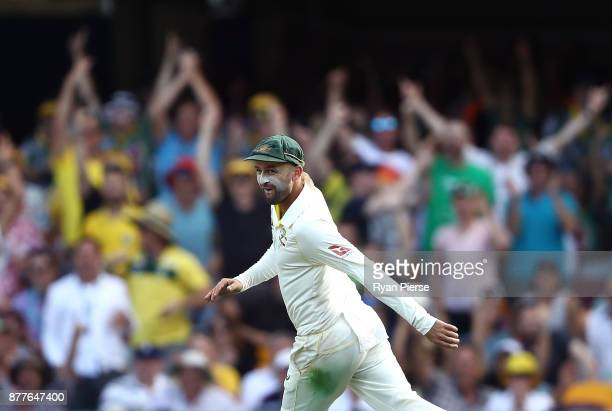 Nathan Lyon of Australia celebrates after running out James Vince of England during day one of the First Test Match of the 2017/18 Ashes Series...