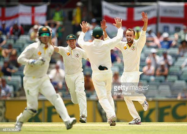Nathan Lyon of Australia celebrates after taking the wicket of Ben Stokes of England during day five of the Third Ashes Test Match between Australia...