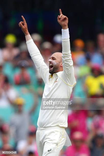 Nathan Lyon of Australia celebrates after taking the wicket of Alastair Cook of England during day four of the Fifth Test match in the 2017/18 Ashes...