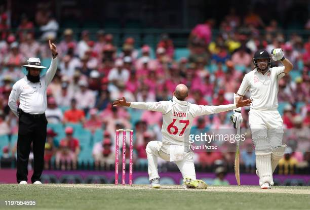 Nathan Lyon of Australia celebrates after taking the wicket of Jeet Raval of New Zealand during day three of the Third Test match in the series...