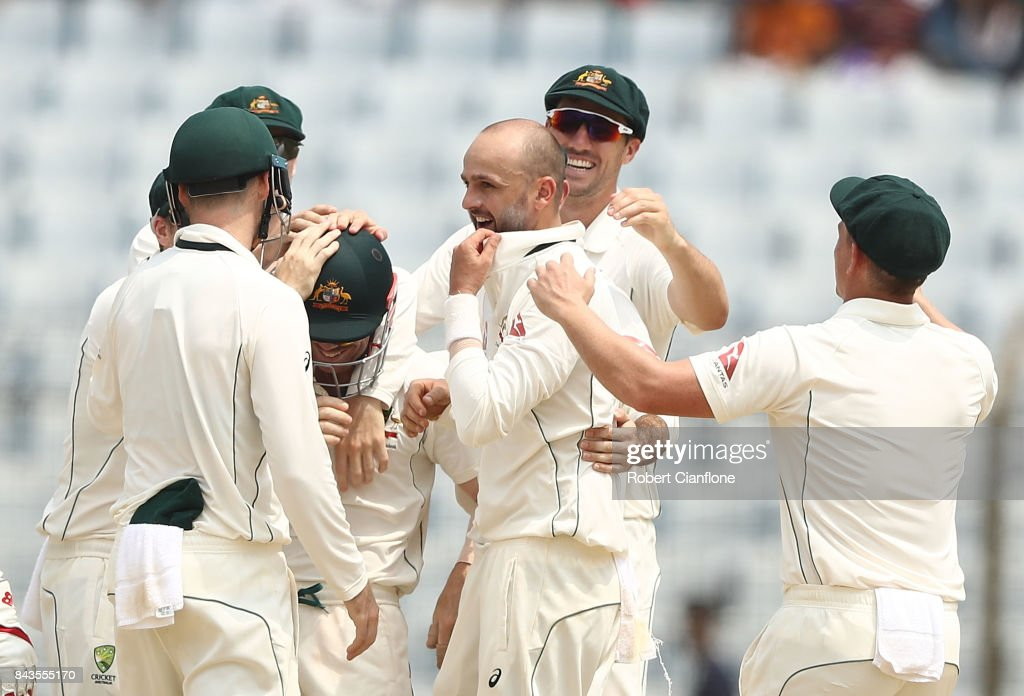 Nathan Lyon of Australia celebrates after taking the wicket of Shakib Al Hasan of Bangladesh during day four of the Second Test match between Bangladesh and Australia at Zahur Ahmed Chowdhury Stadium on September 7, 2017 in Chittagong, Bangladesh.