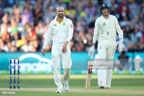 Nathan Lyon of Australia celebrates after taking the wicket of Stuart Broad of England during day three of the Second Test match during the 2017/18...