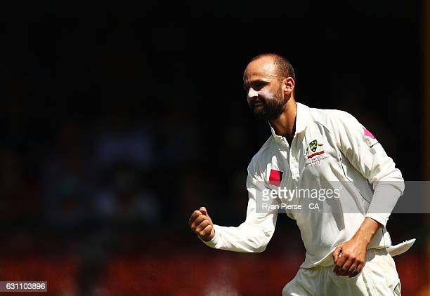 Nathan Lyon of Australia celebrates after taking the wicket of Younis Khan of Pakistan during day five of the Third Test match between Australia and...