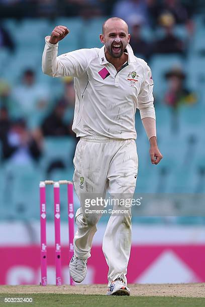 Nathan Lyon of Australia celebrates dismissing Kraigg Brathwaite of West Indies during day one of the third Test match between Australia and the West...