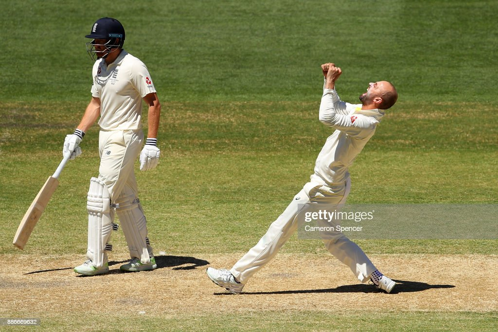 Nathan Lyon of Australia celebrates dismissing Moeen Ali of England during day five of the Second Test match during the 2017/18 Ashes Series between Australia and England at Adelaide Oval on December 6, 2017 in Adelaide, Australia.