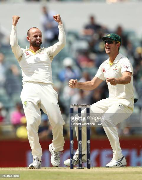 Nathan Lyon of Australia celebrates taking the wicket of Moeen Ali of England during day five of the Third Test match during the 2017/18 Ashes Series...