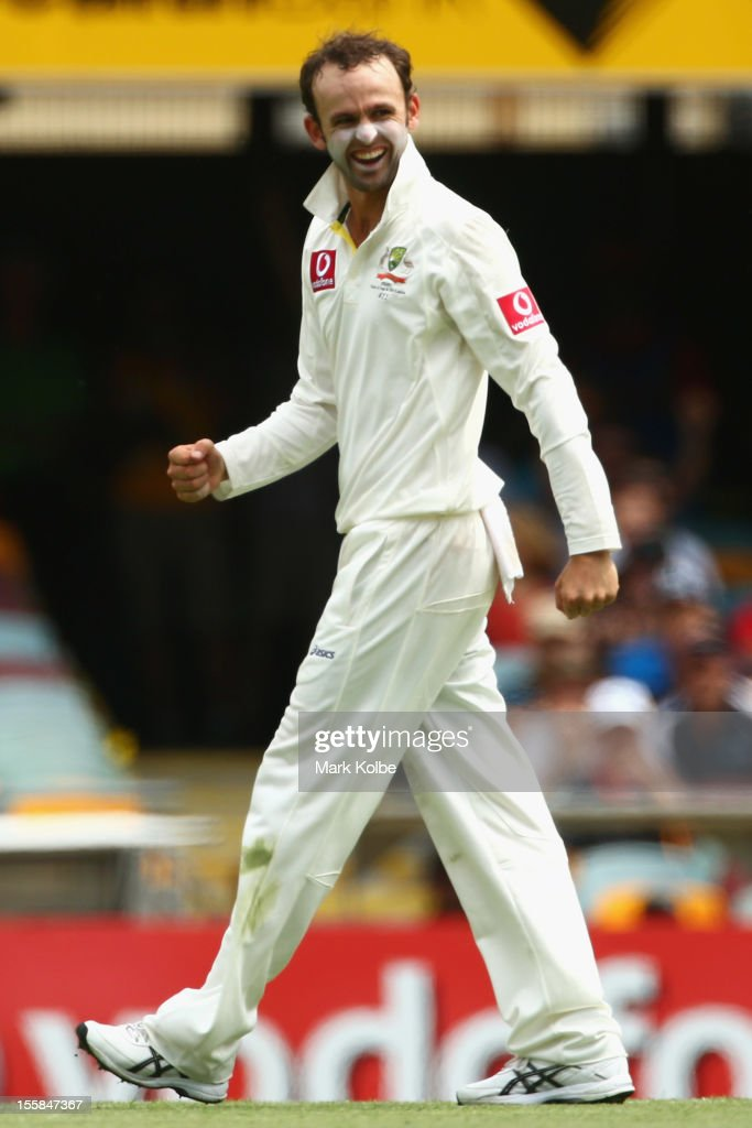 Nathan Lyon of Australia celebrates the wicket of Alviro Petersen of South Africa during day one of the First Test match between Australia and South Africa at The Gabba on November 9, 2012 in Brisbane, Australia.