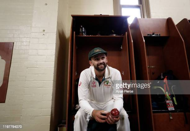 Nathan Lyon of Australia celebrates victory in the change rooms after day four of the Third Test Match in the series between Australia and New...