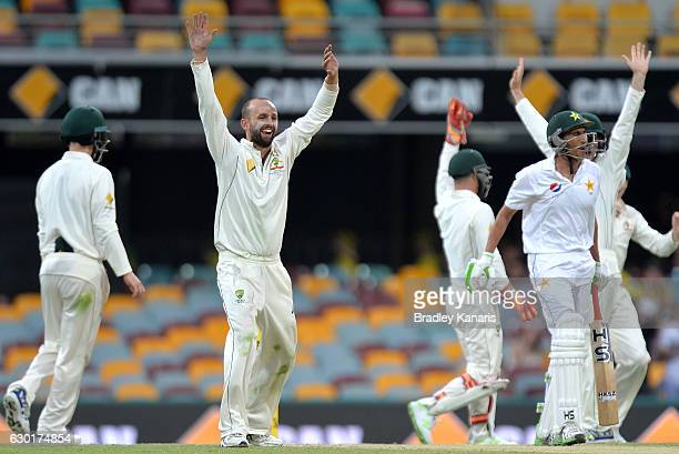 Nathan Lyon of Australia celebrates with team mates after taking the wicket of Younis Khan of Pakistan during day four of the First Test match...