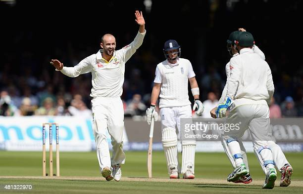 Nathan Lyon of Australia celebrates with teammates after dismissing Ian Bell of England during day four of the 2nd Investec Ashes Test match between...