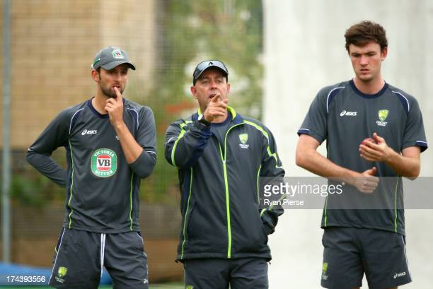 Nathan Lyon of Australia Darren Lehmann coach of Australia and Ashton Turner of Australia looks on during an Australian Training Session at The...