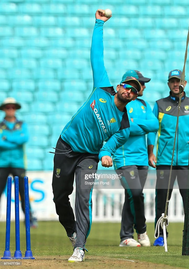 Nathan Lyon of Australia during an Australia Net Session at The Kia Oval on June 11, 2018 in London, England.