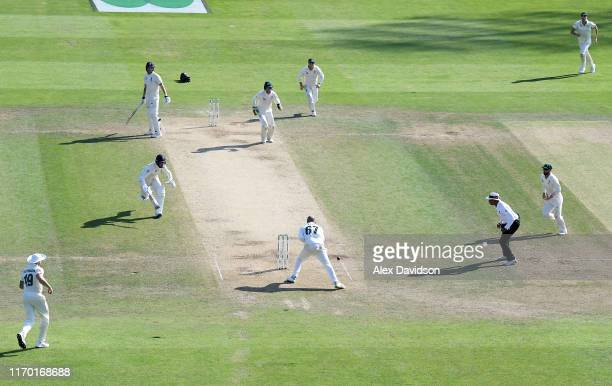 Nathan Lyon of Australia fails to run out Jack Leach of England to win the game during Day Four of the 3rd Specsavers Ashes Test match between...