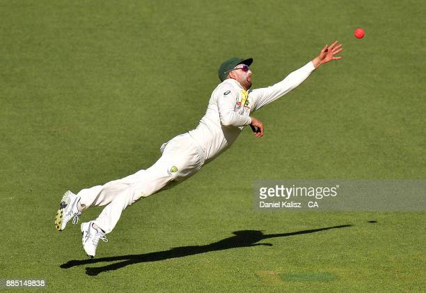 Nathan Lyon of Australia fields during day three of the Second Test match during the 2017/18 Ashes Series between Australia and England at Adelaide...