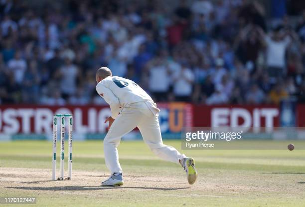 Nathan Lyon of Australia fumbles the ball and misses a run out opportunity on Jack Leach of England during day four of the 3rd Specsavers Ashes Test...