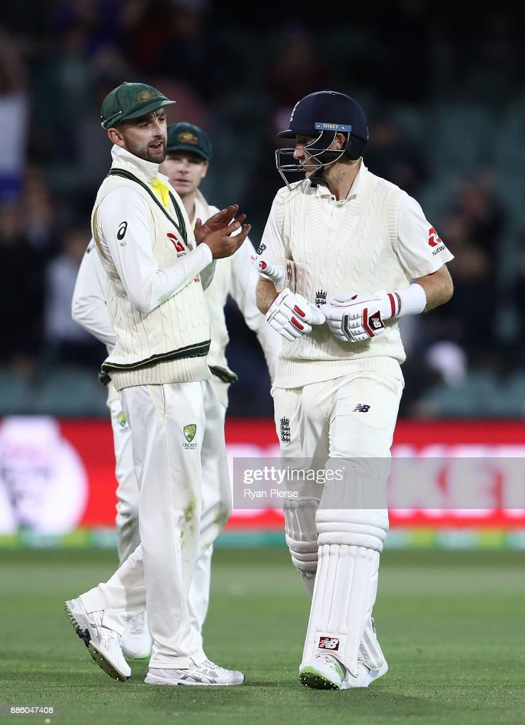 Nathan Lyon of Australia has words with Joe Root of England at stumps during day four of the Second Test match during the 2017/18 Ashes Series between Australia and England at Adelaide Oval on December 5, 2017 in Adelaide, Australia.