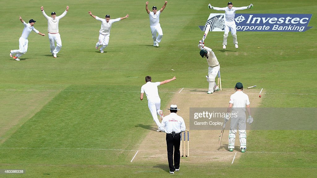Nathan Lyon of Australia is bowled by Mark Wood of England to win the 4th Investec Ashes Test match between England and Australia at Trent Bridge on August 8, 2015 in Nottingham, United Kingdom.