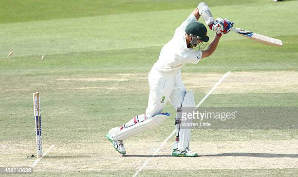 Nathan Lyon of Australia is bowled by Rahat Ali of Pakistan during Day Three of the Second Test between Pakistan and Australia at Sheikh Zayed...