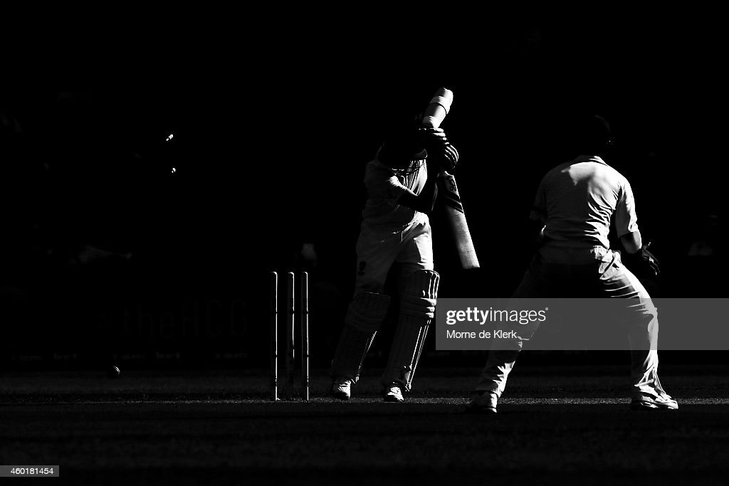 Nathan Lyon of Australia is bowled out by Mohammed Shami of India during day one of the First Test match between Australia and India at Adelaide Oval on December 9, 2014 in Adelaide, Australia.