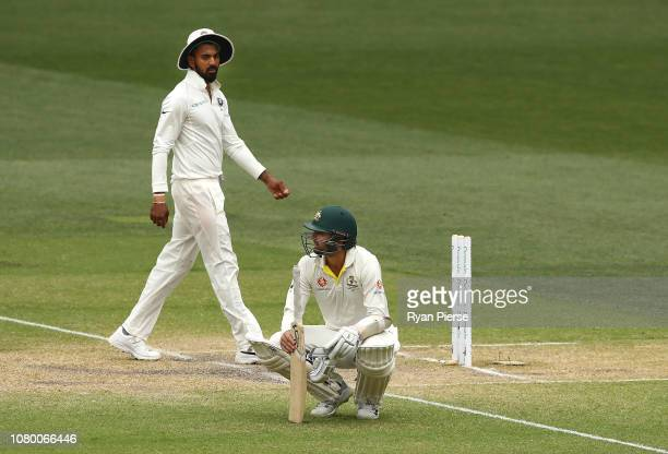 Nathan Lyon of Australia looks dejected after India claimed victory during day five of the First Test match in the series between Australia and India...