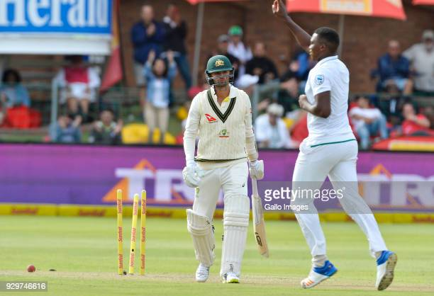 Nathan Lyon of Australia looks on at Lungi Ngidi of South Africa during day 1 of the 2nd Sunfoil Test match between South Africa and Australia at St...