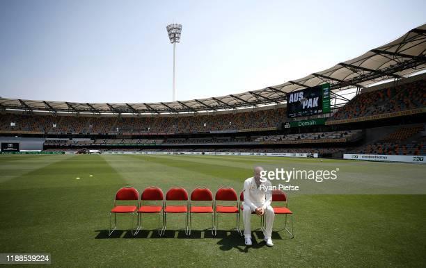 Nathan Lyon of Australia looks on during an Australia nets session at The Gabba on November 19, 2019 in Brisbane, Australia.