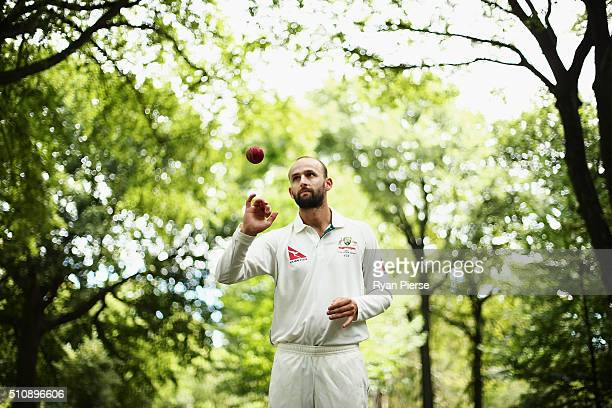 Nathan Lyon of Australia poses during a portrait session at Hagley Oval on February 18 2016 in Christchurch New Zealand