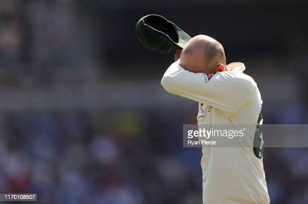 Nathan Lyon of Australia reacts after bowling during day four of the 3rd Specsavers Ashes Test match between England and Australia at Headingley on...