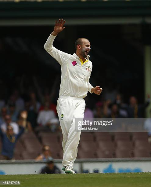Nathan Lyon of Australia reacts after taking the wicket of Lokesh Rahul of India during day five of the Fourth Test match between Australia and India...