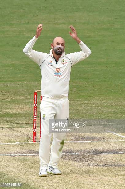 Nathan Lyon of Australia reacts during day five of the 4th Test Match in the series between Australia and India at The Gabba on January 19, 2021 in...