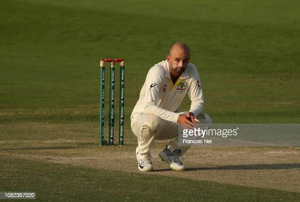 Nathan Lyon of Australia reacts during day two of the Second Test match between Australia and Pakistan at Sheikh Zayed stadium on October 17 2018 in...