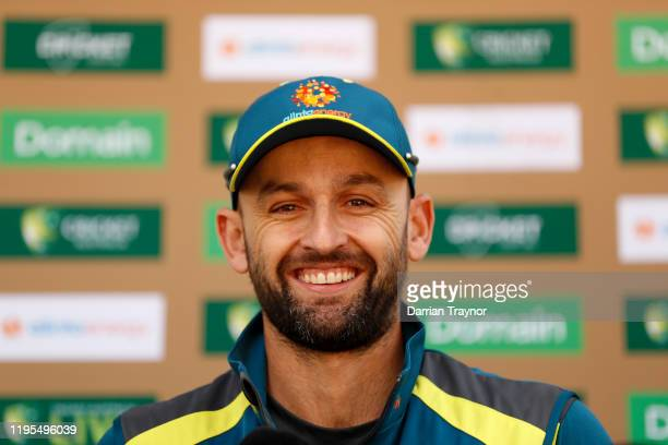 Nathan Lyon of Australia speaks to the media during the Bupa Family Day at the Yarra Parklands on December 23, 2019 in Melbourne, Australia.