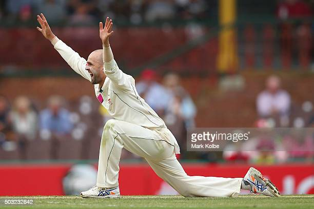 Nathan Lyon of Australia unsuccessfully appeals during day one of the third Test match between Australia and the West Indies at Sydney Cricket Ground...