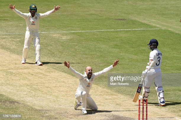 Nathan Lyon of Australia unsuccessfully appeals for the wicket of Cheteshwar Pujara of India during day five of the 4th Test Match in the series...