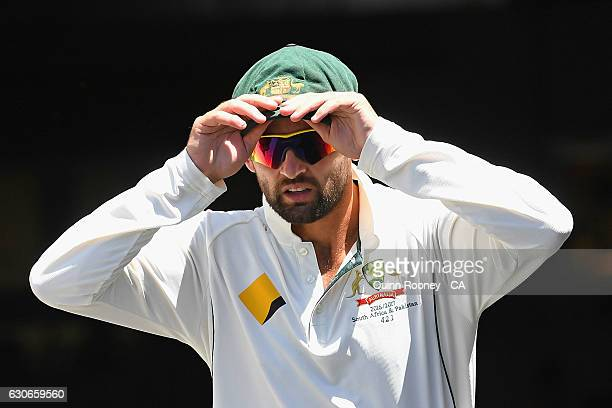 Nathan Lyon of Australia walks out onto the field during day five of the Second Test match between Australia and Pakistan at Melbourne Cricket Ground...