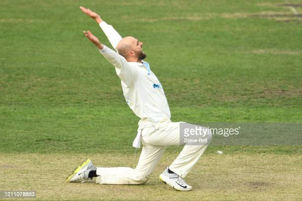 Nathan Lyon of New South Wales appeals for a wicket during day three of the Sheffield Shield match between Tasmania and New South Wales at Blundstone...