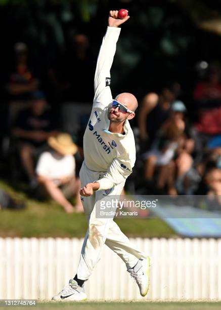 Nathan Lyon of New South Wales bowls during day two of the Sheffield Shield Final match between Queensland and New South Wales at Allan Border Field...
