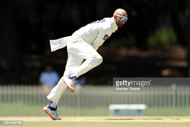 Nathan Lyon of NSW bowls during day four of the Sheffield Shield match between Victoria and New South Wales at Bankstown Oval on February 28, 2021 in...
