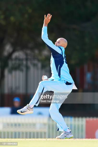 Nathan Lyon of NSW bowls during the 2021 Marsh One Day Cup Final match between New South Wales and Western Australia at Bankstown Oval on April 11,...