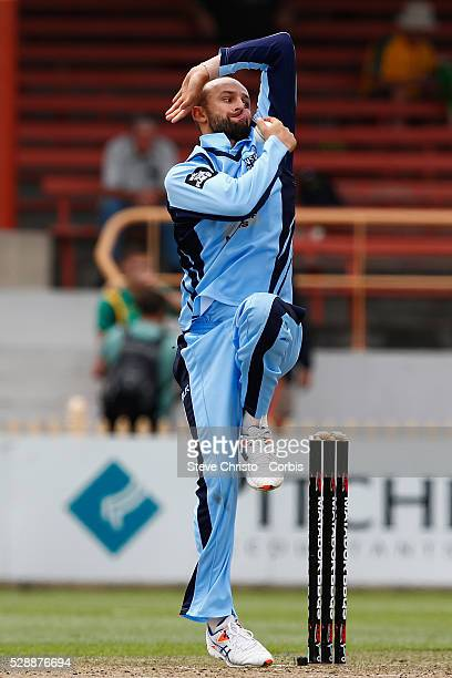 Nathan Lyon of the Blues bowling against the Bushrangers during the Matador BBQ's OneDay Cup between New South Wales Blues and Victorian Bushrangers...