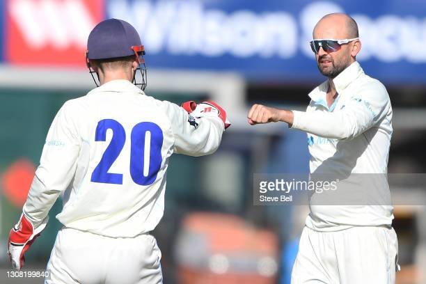 Nathan Lyon of the Blues celebrates a wicket during day two of the Sheffield Shield match between Tasmania and New South Wales at Blundstone Arena on...